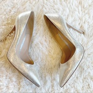 Gianvito Rossi Silver Metallic Leather Pointy Pump